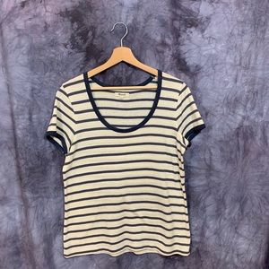 Madewell Blue Striped Scoop Neck Tee Large